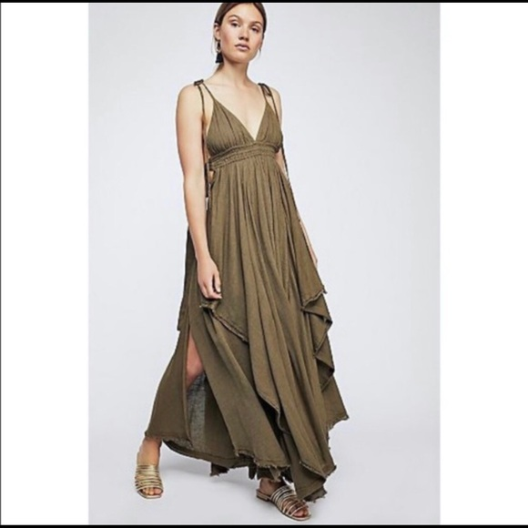 Free People Dresses & Skirts - Free People Tropical Heat Maxi Dress XS Olive Grn